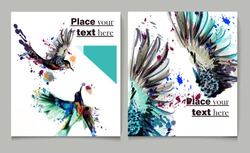 Business report brochure  design template vector cover presentation abstract style with watercolor birds from spots