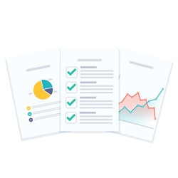 Business reports document vector illustration