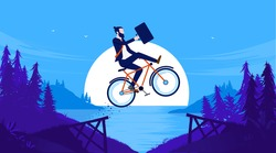 Business risk - Businessman doing a  stunt jump on bike outdoors. Challenge, obstacle and difficulty concept. Vector illustration.