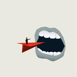 Business risk or danger warning vector cocnept. Symbol of problem, challenge ahead. Minimal art. Eps10 illustration. Minimal art.