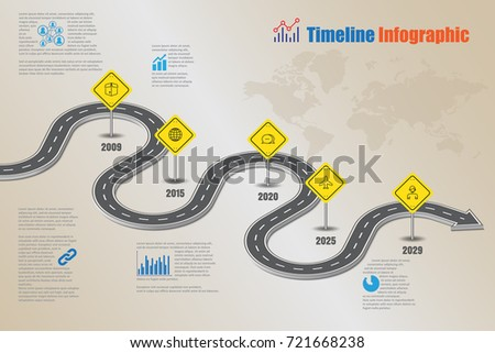 Business road map concepts timeline infographic template. Vector illustration