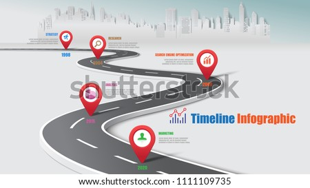 Business road map timeline infographic city expressway designed for abstract background template milestone element modern diagram process technology digital data presentation chart Vector illustration
