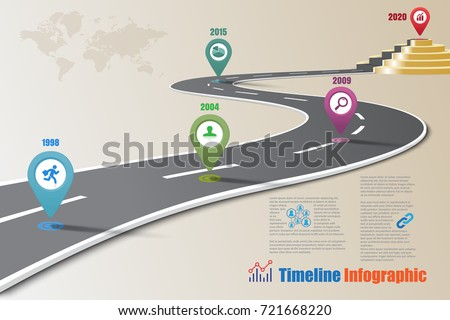 Business road map timeline infographic concepts designed for template, milestone path way to podium. Vector illustration