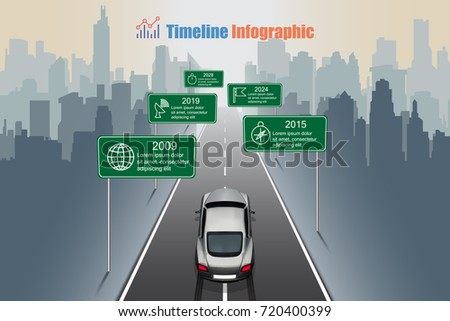 Business road map timeline infographic, sport car is running to city. Vector illustration