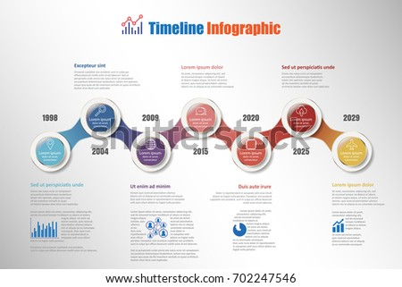 Business road map timeline infographic with 7 steps circle designed for background elements diagram planning process web pages workflow digital technology data presentation chart. Vector illustration