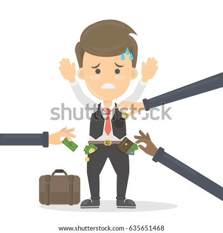 Business robbery concept illustration. Sad worried man with hands up is robbed by thieves. Foto stock ©