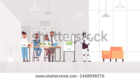 business robot speaket presenting financial graph on flip chart to businesspeople team at conference meeting artificial intelligence technology concept modern office interior full length horizontal