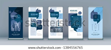 Business Roll Up Set. Standee Design. Banner Template, Abstract Blue Speech Bubbles Background vector, flyer, leaflet, j-flag, x-stand, x-banner, exhibition display, social, talk bubble