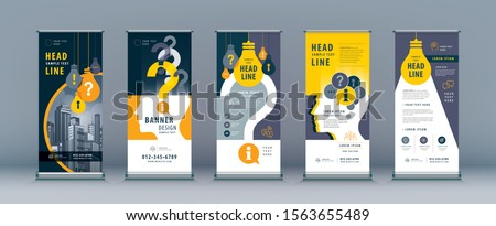 Business Roll Up Set. Standee Design. Banner Template, Abstract Human head with Light Bulb and Question Mark vector,  leaflet, j-flag, x-stand, exhibition display,  problem, trouble, answer, solution