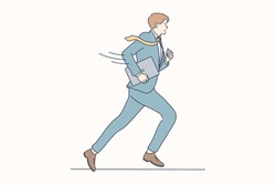 Business, rush, job, race, delay concept. Young motivated happy smiling businessman guy clerk manager cartoon character running with laptop. Participation in competition or hurry at work illustration.