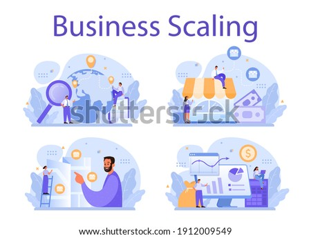 Business scaling concept set. Franchise business expansion. Idea of business growth and expand. Marketing strategy and product promotion. Vector illustration in cartoon style Foto d'archivio ©