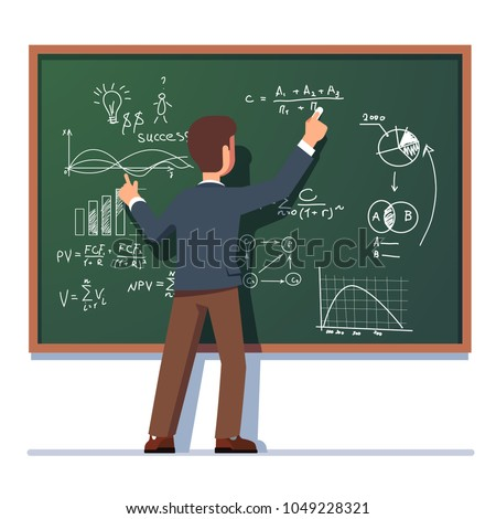 Business school professor teaching explaining and writing formula on chalkboard. Business man teacher standing at class blackboard. Flat style isolated vector character illustration