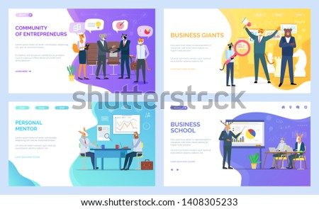Business school vector, hipster animals developing skills in field. Personal mentor on meeting with student, entrepreneurs and giants tiger and bear. Website or webpage, landing page flat style