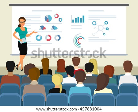 Business seminar female speaker doing presentation and professional training about marketing, sales and e-commerce. Flat illustration of public conference and motivation for business audience
