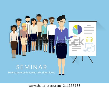 Business seminar with managers and business trainer. Flat illustration. Text outlined, free font Lato