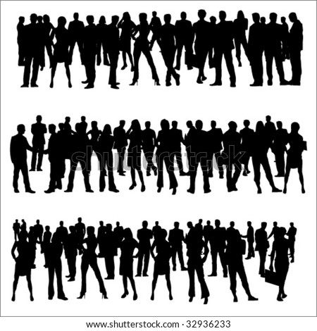 Business Separate People Crowd Silhouettes