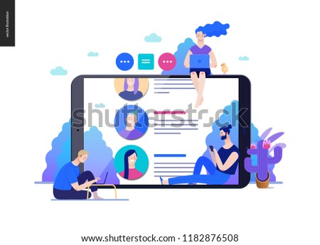 Business series, color 2 - reviews -modern flat vector illustration concept of people writing reviews and the review page on the tablet screen. Creative landing page or company product design template