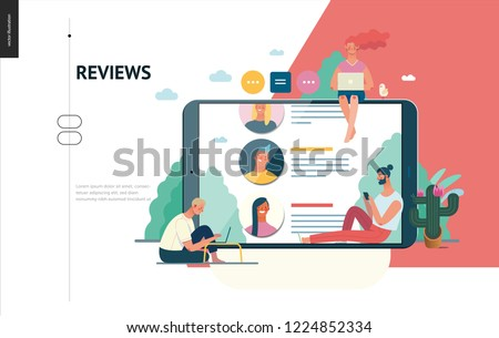 Business series, color 1 - reviews -modern flat vector illustration concept of people writing reviews and the review page on the tablet screen. Creative landing page or company product design template