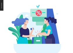 Business series, color 3 - where to buy - modern flat vector illustration concept of a customer and a shop assistant. Selling interaction and purchasing process. Creative landing page design template