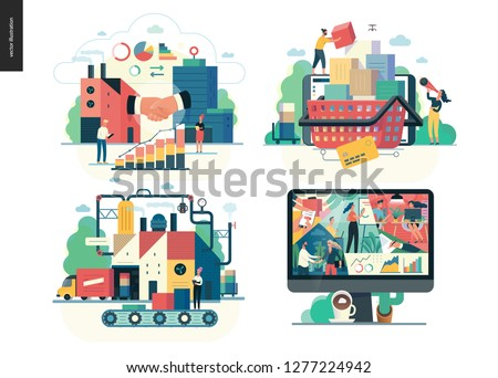 Business series set, color 1 -modern flat vector concept illustrated topics -b2b, buy online, shopping cart, production, manufacturing, about company, office. Creative landing web page design template