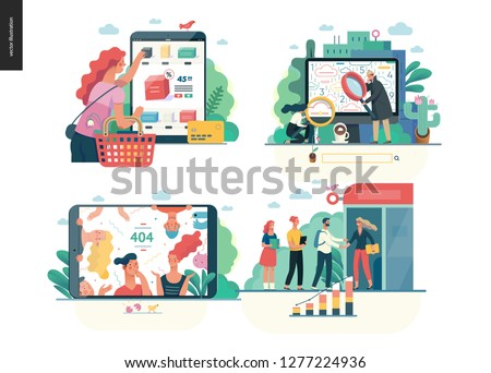 Business series set, color 1 -modern flat vector concept illustrated topics - buy online shop, search page, error 404, partners. Creative landing web page design template