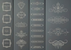Business set flourish frames and vintage decoration for text blocks. Decorative royal elements on gray cardboard for decoration of title in vector. Wicker lines and business text element