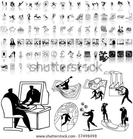 Business set of black sketch. Part 11-0. Isolated groups and layers.