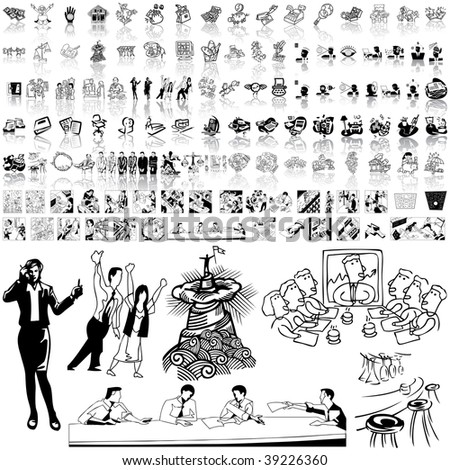 Business set of black sketch. Part 1-3. Isolated groups and layers.