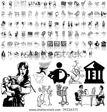 Business set of black sketch. Part 6-3. Isolated groups and layers.