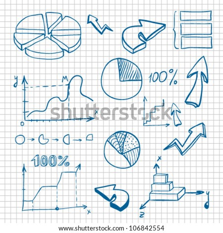 business set of graphics and diagrams on grid paper
