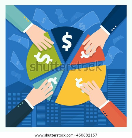 Business shareholder concept in flat style. Vector illustration of businessmen hands take part of income or share in company