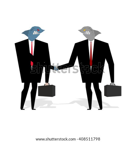 Business Sharks Handshake make deal. Professionals shake hands. Agreement between marine predators. convention between wicked animal. Fish in biz suit and tie