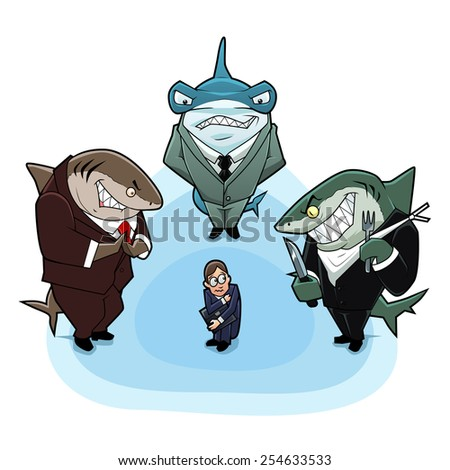 business sharks surrounded the