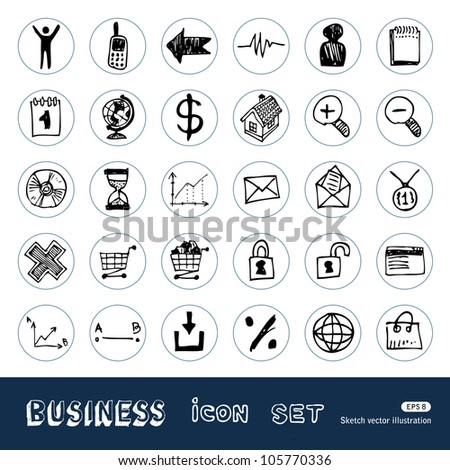 Business, shopping and work web icons set. Hand drawn sketch illustration isolated on white background