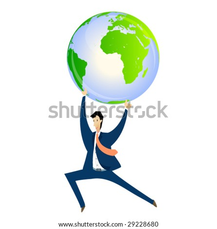 business sign #3 - man holding the globe