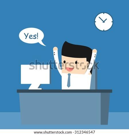 Business situation. Businessman enjoys success. Vector illustration.