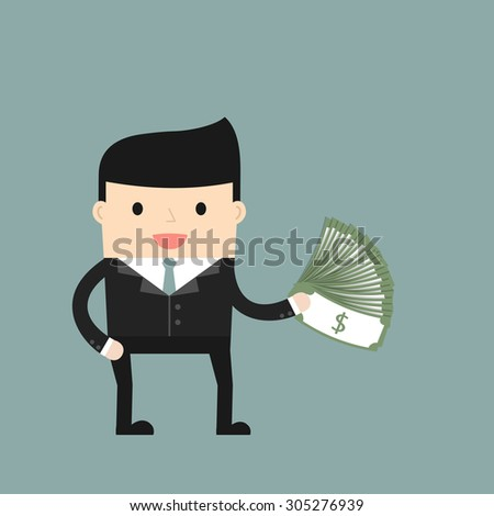 Business situation. Businessman holding dollars. Concept of success and big profits. Vector illustration.