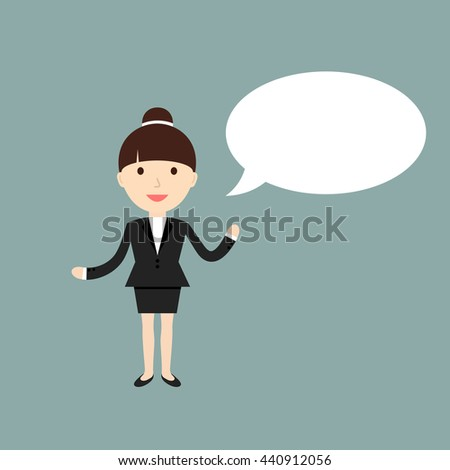 Business situation. Businesswoman with speech bubble for your text. Vector illustration.