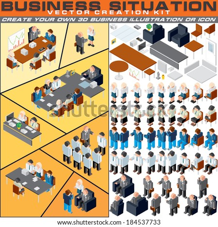 Business Situation Creation Kit. Vector Set Include Various Office Workers, Furniture and other Workplace Equipments. Create Your Own 3D Icon or Illustration for Print, Apps, Presentation or Web Site.