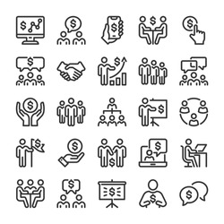 Business situations icons set. Line style
