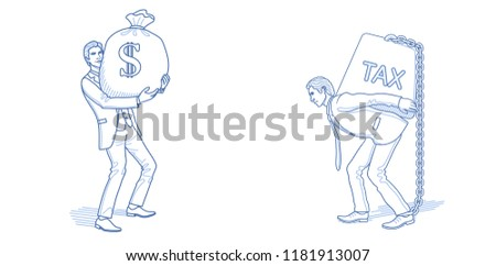 Business sketch. Wealth concept. Businessman with money bag and carrying tax weight. Hand drawn cartoon characters. Vector illustration.