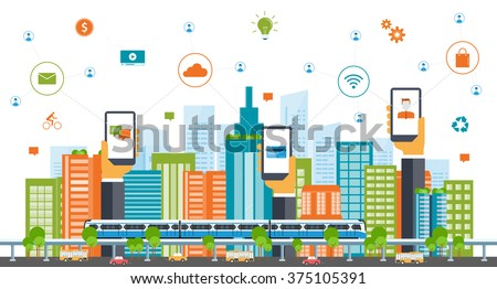 business smart city concept .business communication.city life.Capital.downtown.electric train. transportation. color full building.