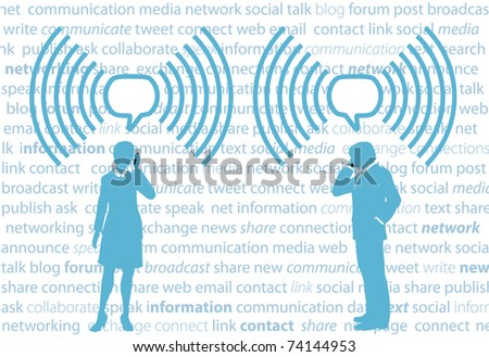 Business smartphone people communicate in WiFi speech bubbles on social media background