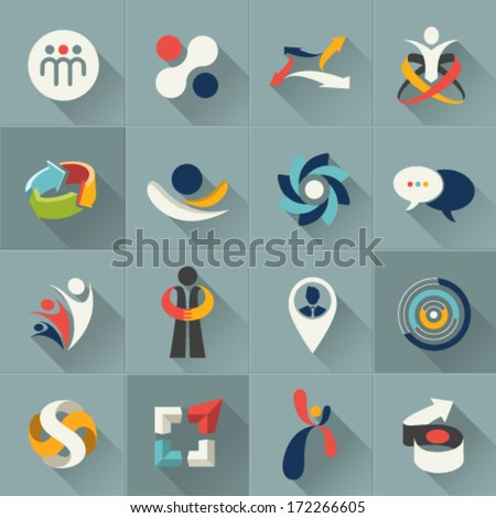 Business social relationship people and communication web Icons set and vector logos