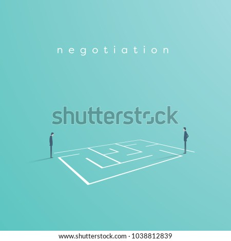 Business solution and challenge vector concept. Businessman standing next to a maze, labyrinth. Eps10 vector illustration.