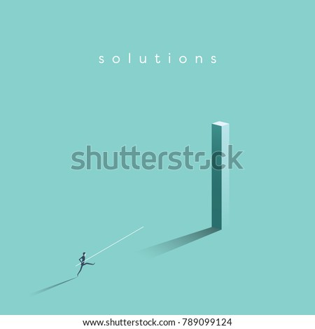 Business solution and creative idea vector concept. Businessman jumping high with pole vault jump. Symbol of achievement, success, motivation and ambition. Eps10 vector illustration.