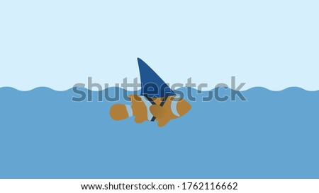 business,solution,creative,idea concept fake fish. Small Fish With Ambitions Of A Big Shark Foto stock ©