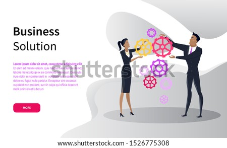 Business solution, office workers and cogwheels online web page vector. Businesswoman and businessman fixing mechanism, work strategies and planning