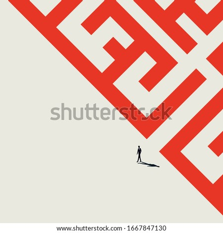 Business solution searching vector concept. Overcome difficult challenge, make decision and find success. Minimal art style businessman or entrepreneur walk out of maze. Eps10 illustration.