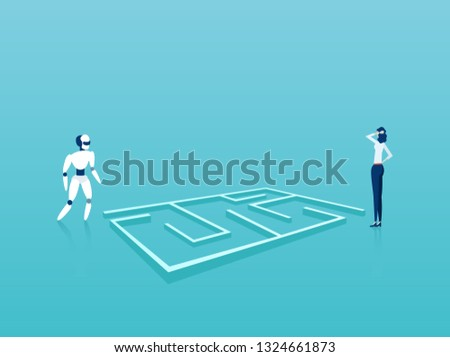 Business solution technology implementation concept. Vector of businesswoman and robot standing next to labyrinth looking for creative solutions and strategy.